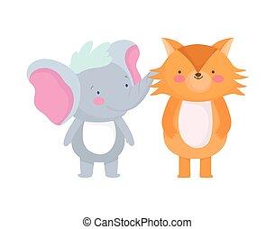peu, renard blanc, caractère, dessin animé, fond, éléphant