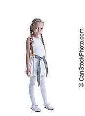 peu, robe, blanc, girl