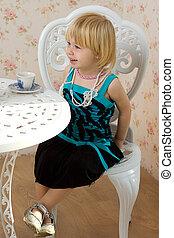 peu, robe, chaise, girl, séance