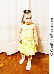 peu, robe, girl, jaune