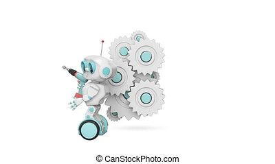 peu, robot, mécanisme, animation, canal alpha, 3d