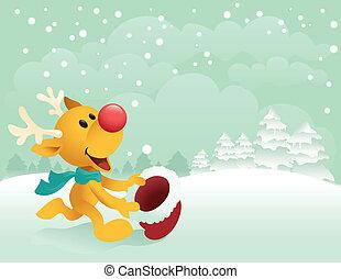 peu, rudolph, attraper, neige, premier