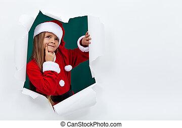 peu, rupture, couche, papier, santa, girl, vêtements, dehors