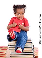 peu, séance, beaucoup, livres, africaine