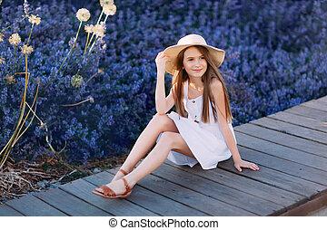 peu, séance, blanc, parc, sourire, robe, girl
