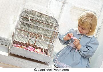 peu, séance, cellule, fenêtre, girl, robe