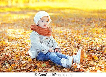 peu, séance, dehors, ensoleillé, automne, chaud, enfant, jour