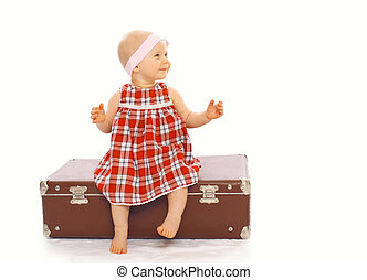 peu, séance, enfant, avoir, valise, amusement, girl, robe, jouer, heureux