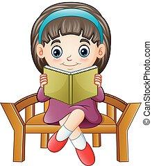 peu, séance, livre, chaise, lecture, girl