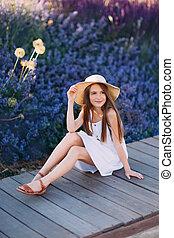 peu, séance, parc, robe blanche, girl