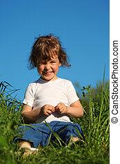 peu, séance, portrait, sourire, herbe, girl