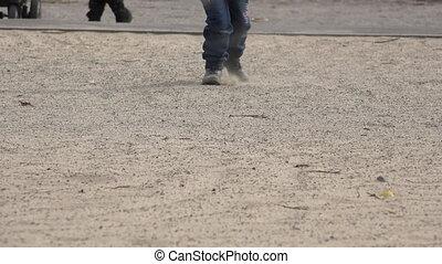 peu, sable, bottes, haut, courant, fin, girl