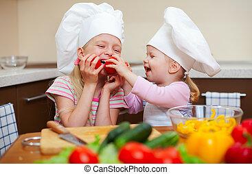 peu, sain, filles, deux, nourriture, préparer, cuisine