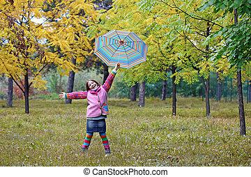peu, saison, parc, automne, girl, heureux