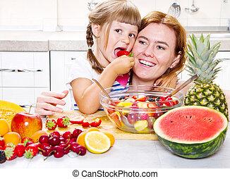 peu, salade, kitchen., fruit, mère, girl, donne
