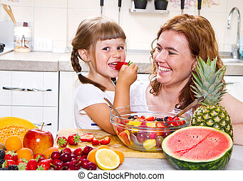 peu, salade, kitchen., fruit, mère, girl, donne