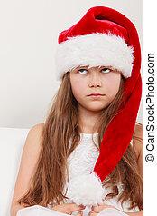 peu, santa, hat., noël., girl, percé, gosse