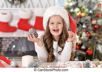 peu, santa, portrait, girl, chapeau, heureux