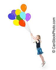 peu, sauter, ballons, girl, atteindre