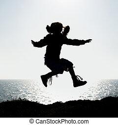 peu, sauter, silhouette, girl