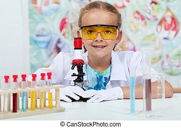 peu, science, expérimenter, élémentaire, girl, classe