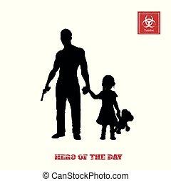 peu, shooter., silhouette, ou, caractère, garde corps, fusil, zombi, arrière-plan., jeu, informatique, noir, child., protéger, girl, blanc, thriller, homme