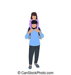 peu, sien, épaules., père, daughter., ensemble., tenue, temps, girl, homme