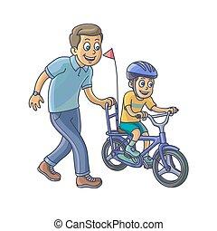 peu, sien, cavalcade, père, fils, apprendre, bicycle.