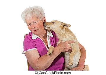 peu, sien, chien, personnes agées, lécher, propriétaire