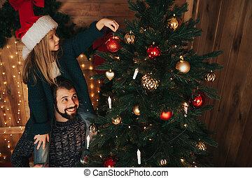 peu, sien, fille, père, arbre, décorer, home., noël, heureux