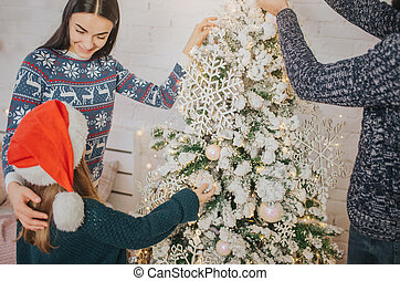 peu, sien, fille, père, arbre, mère, décorer, home., noël, heureux