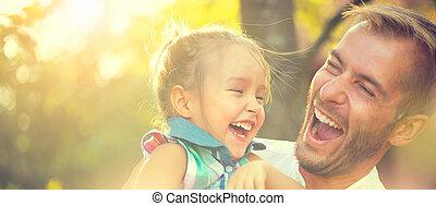 peu, sien, fille, père, jeune, joyeux, heureux