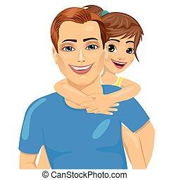 peu, sien, père, ferroutage, fille souriant