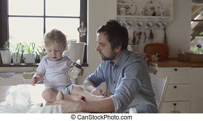 peu, sien, père, jeune, fils, ensemble., maison, jouer
