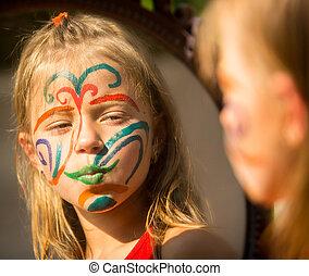 peu, sien, peinture visage, regarde, portrait, émotif, miroir., girl