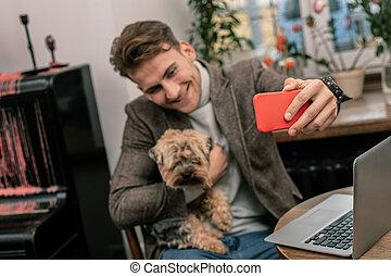peu, sien, selfie, chien, confection, homme