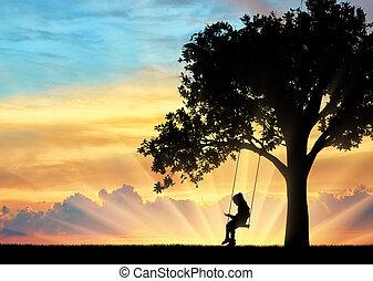 peu, silhouette, séance, livre, lecture fille, swing.