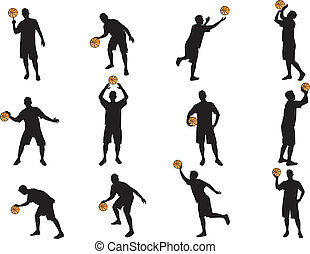 peu, silhouettes, basket-ball, plus