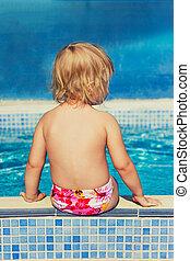 peu, s'installer, bord, girl, piscine