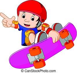 peu, skateboard, acrobatie, type, extrême, frais