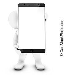 peu, smartphone, 3d, homme