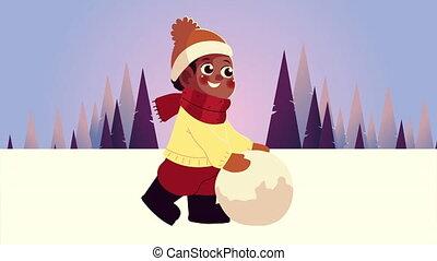 peu, snowscape, scène, jouer, vêtements, boule de neige, afro, porter, garçon, hiver