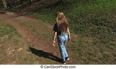 peu, soleil, parc, sentier, girl, jour