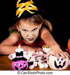 peu, sorcière halloween, partie costume, portrait, girl