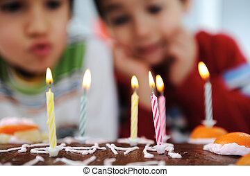 peu, souffler, bougies, deux garçons, fêtede l'anniversaire, gâteau, heureux