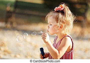 peu, souffler bouillonne, girl, savon