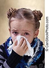 peu, souffler, elle, grippe, nez, girl