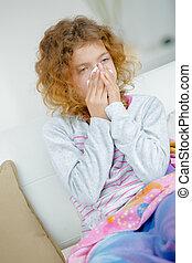 peu, souffler, elle, nez, malade, girl