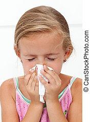 peu, souffler, grippe, nez, girl