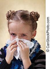 peu, souffler, -, grippe, nez, girl